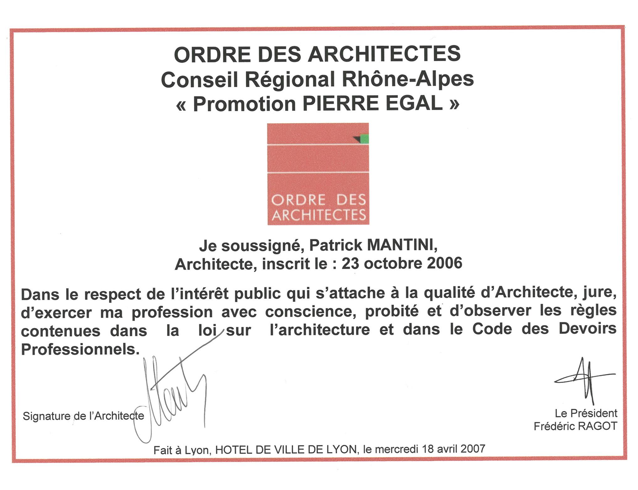 INSCRIPTION ORDRE ARCHI 2006