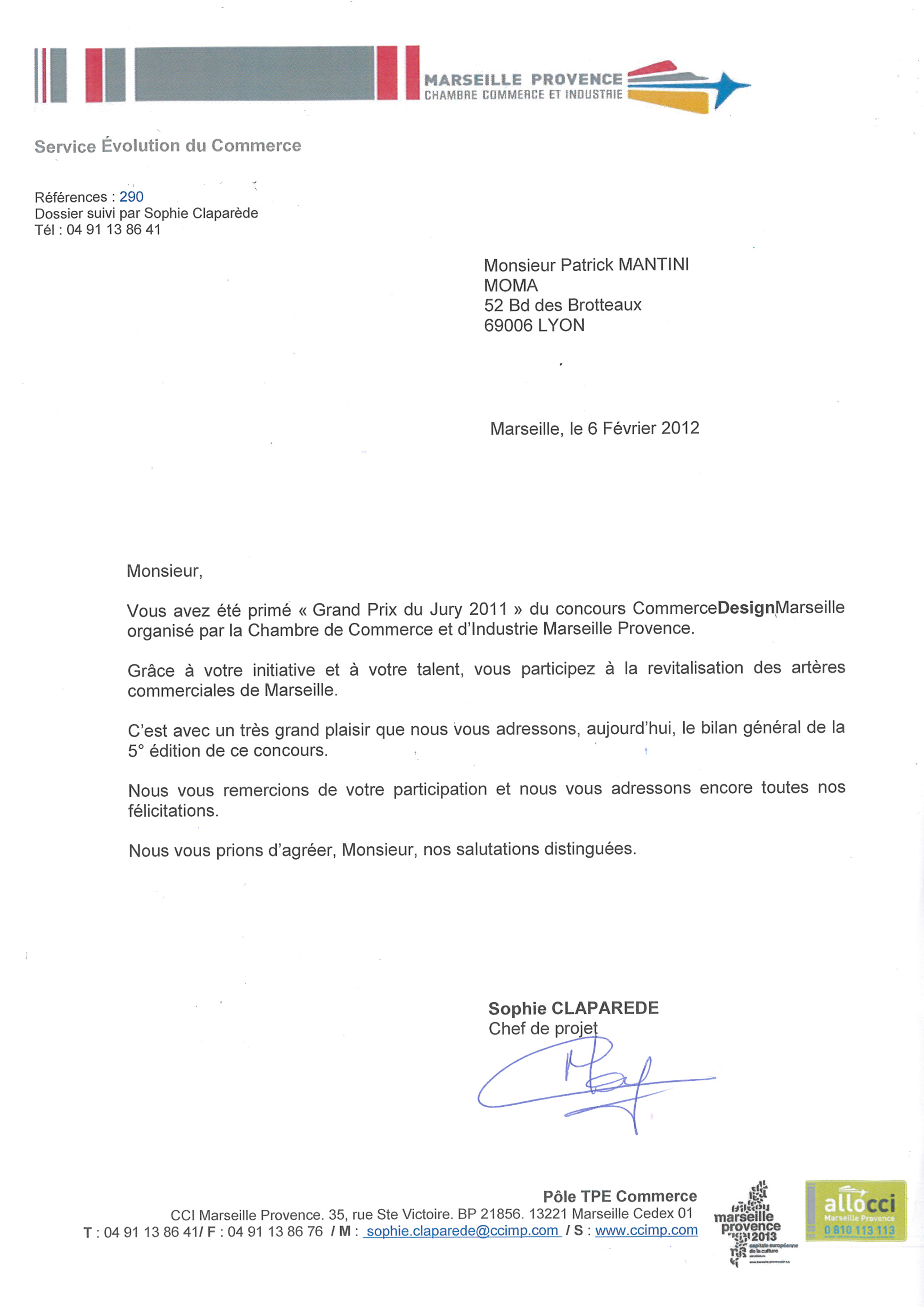 Lettre CCI Marseille